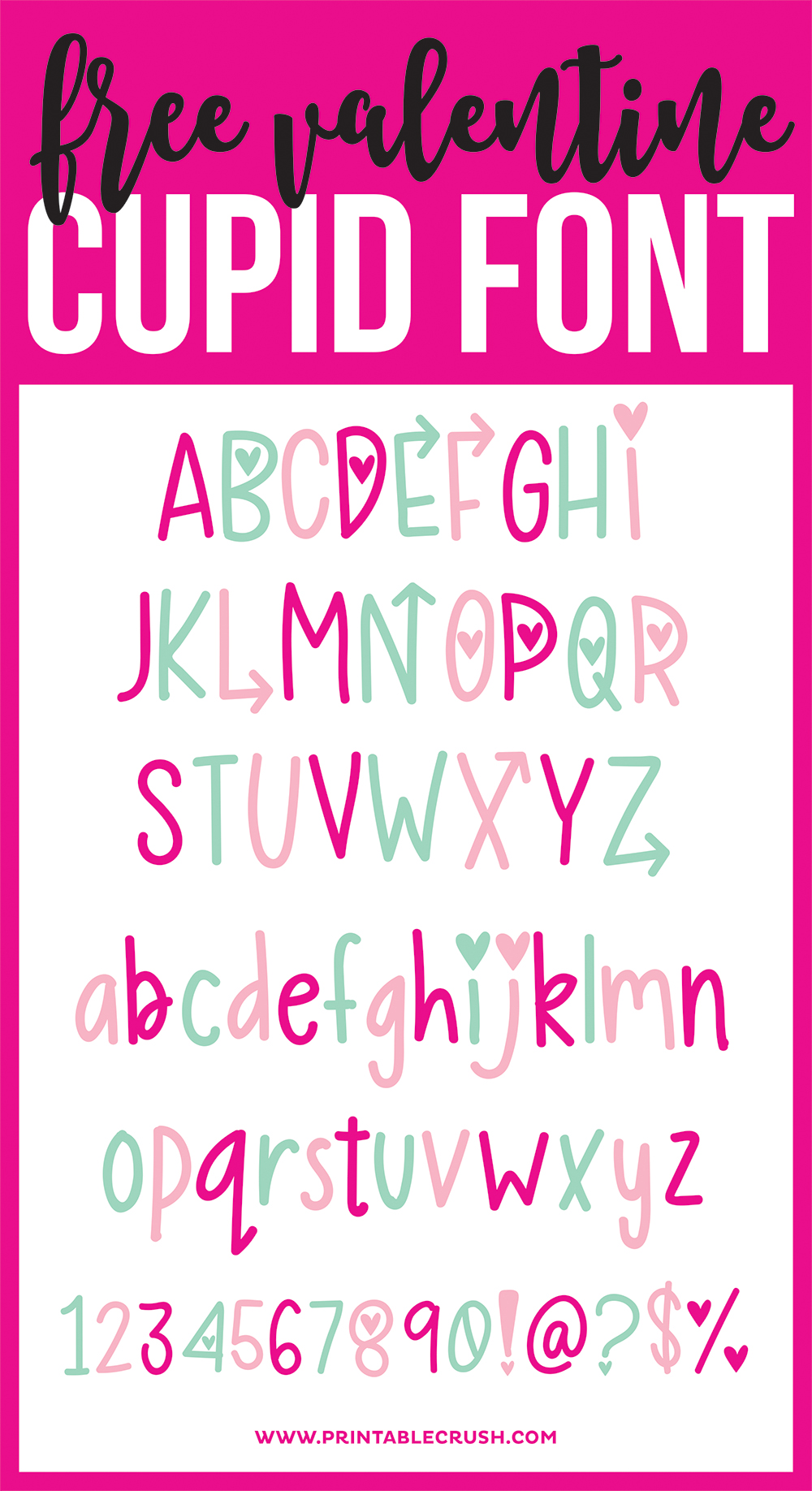 www.printablecrush.comfree valentinecupid Font