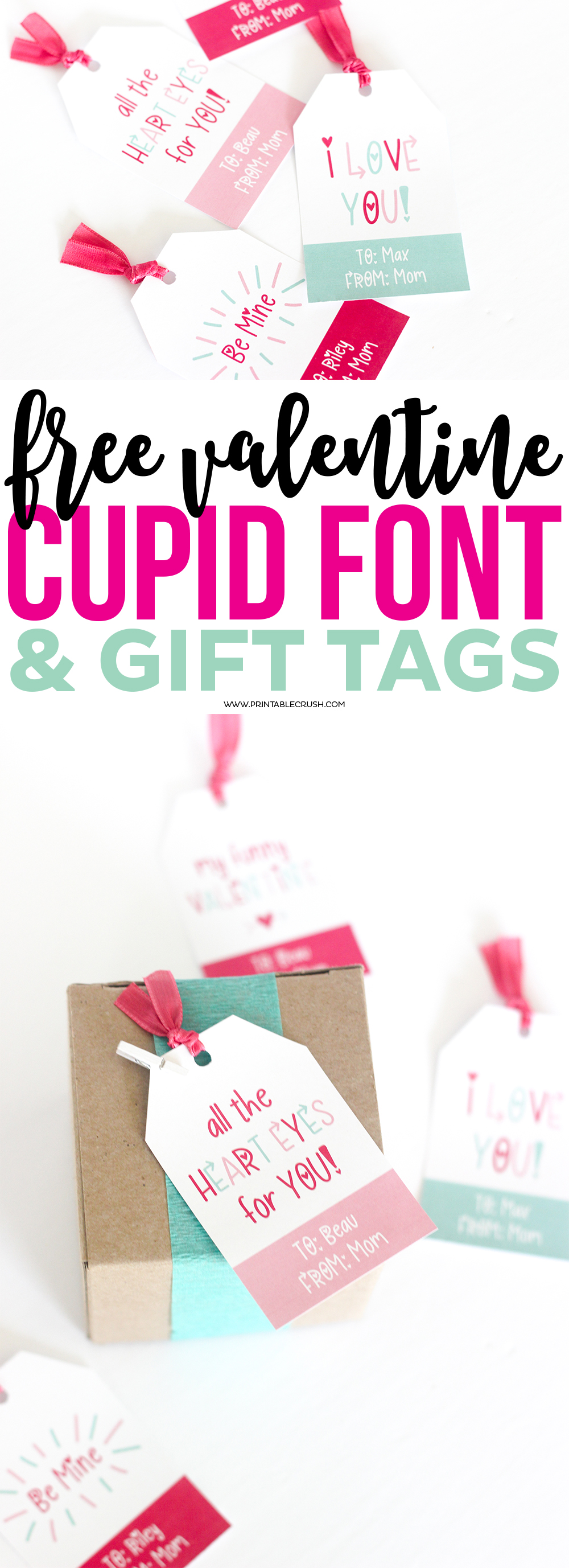 Download this Hand Lettered FREE Valentine Font so you can customize these Cute Gift Tags for an adorable Valentine gift!