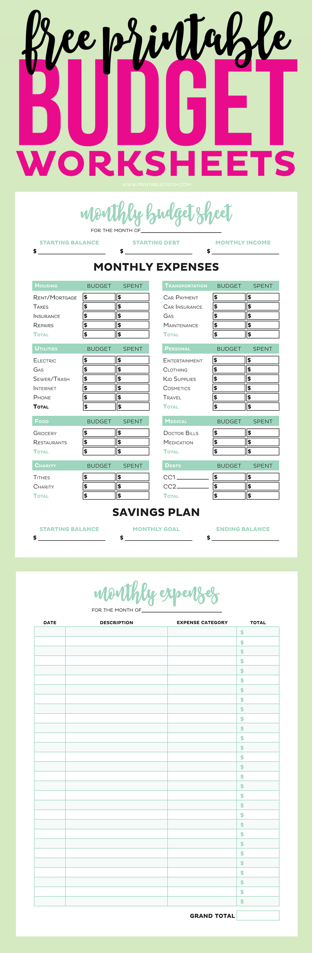 photo regarding Budget Printable known as Uncomplicated No cost Printable Spending plan Worksheets - Printable Crush