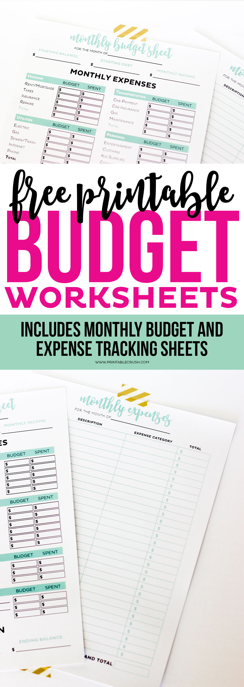 get your finances in order with these simple printable budget worksheets includes monthly budget and