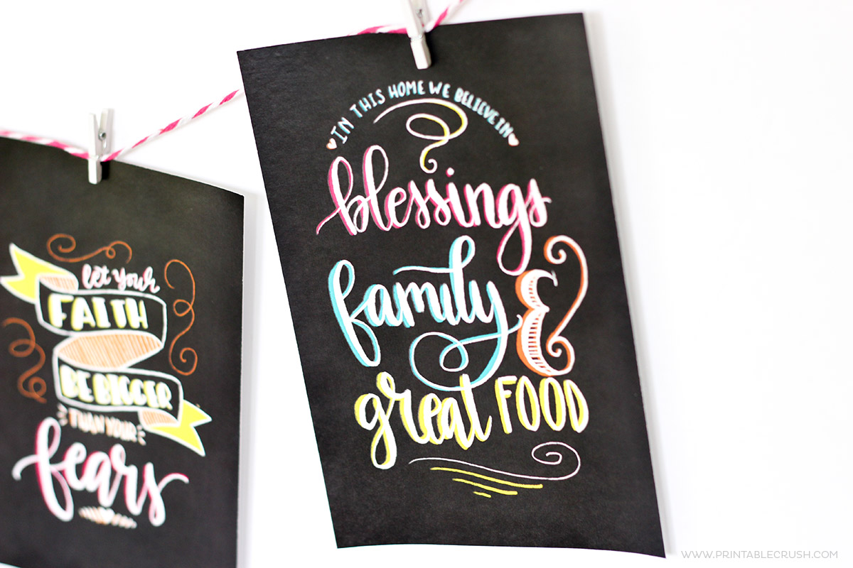Chalkboard background art hanging on twine close up