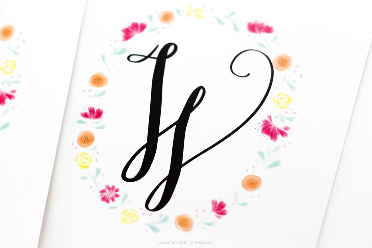 Watercolor Monogram Wreaths on white notecard