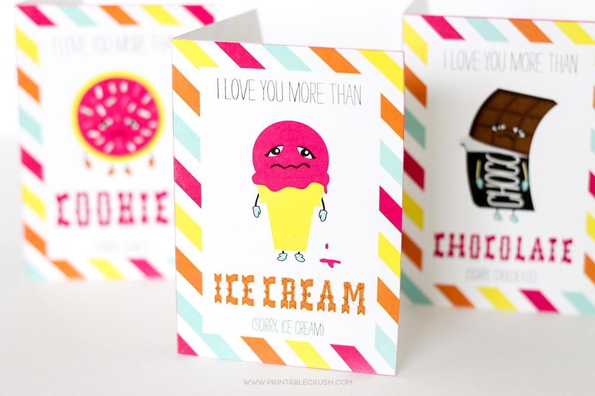 Closeup of funny Valentine cards