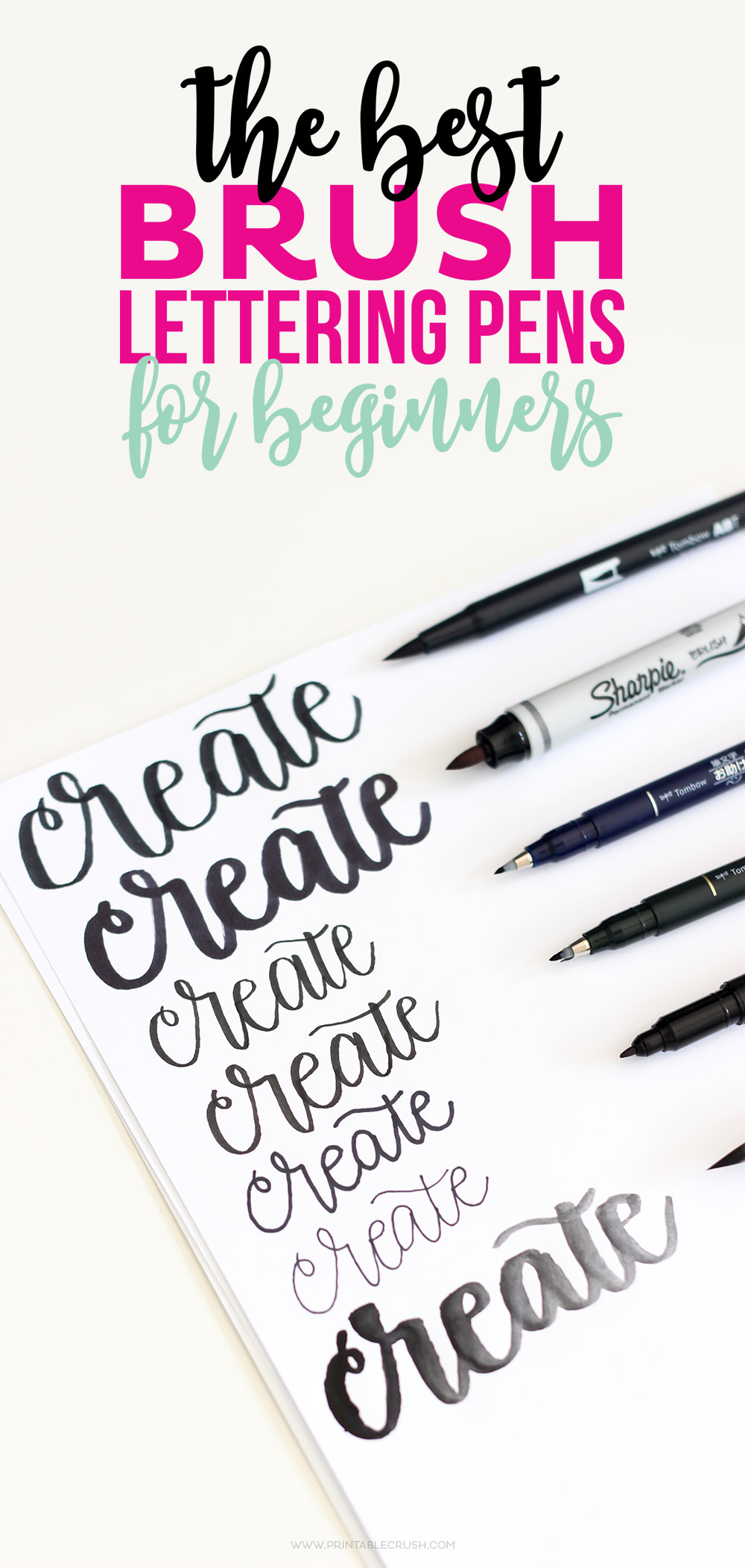Tombow dual brush pen and others with the word create written multiple ways