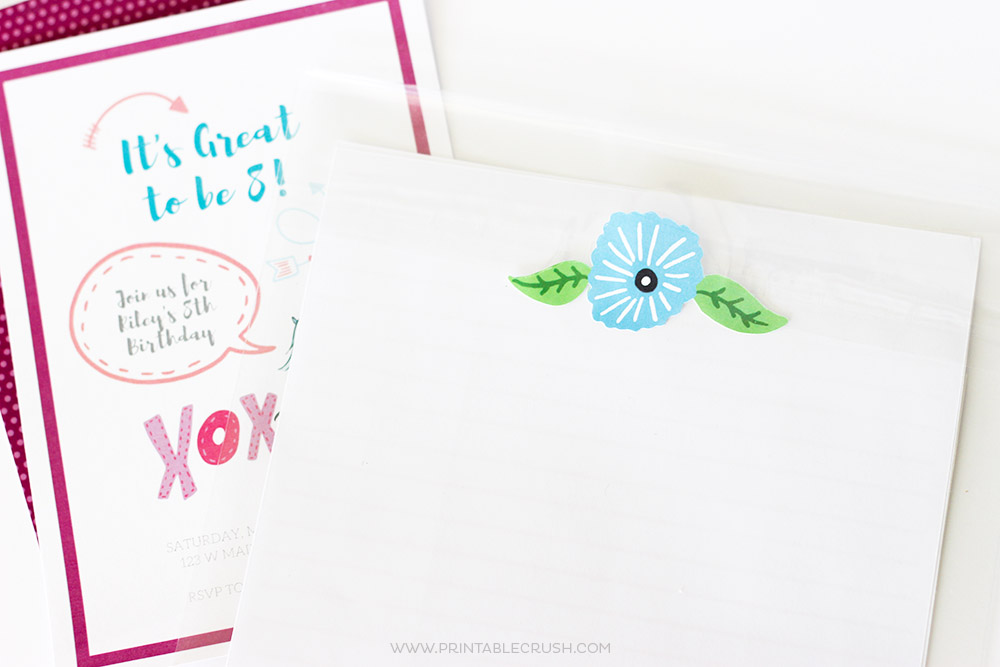 Finished blue flower sticker on white stationary from make your own stickers tutorial