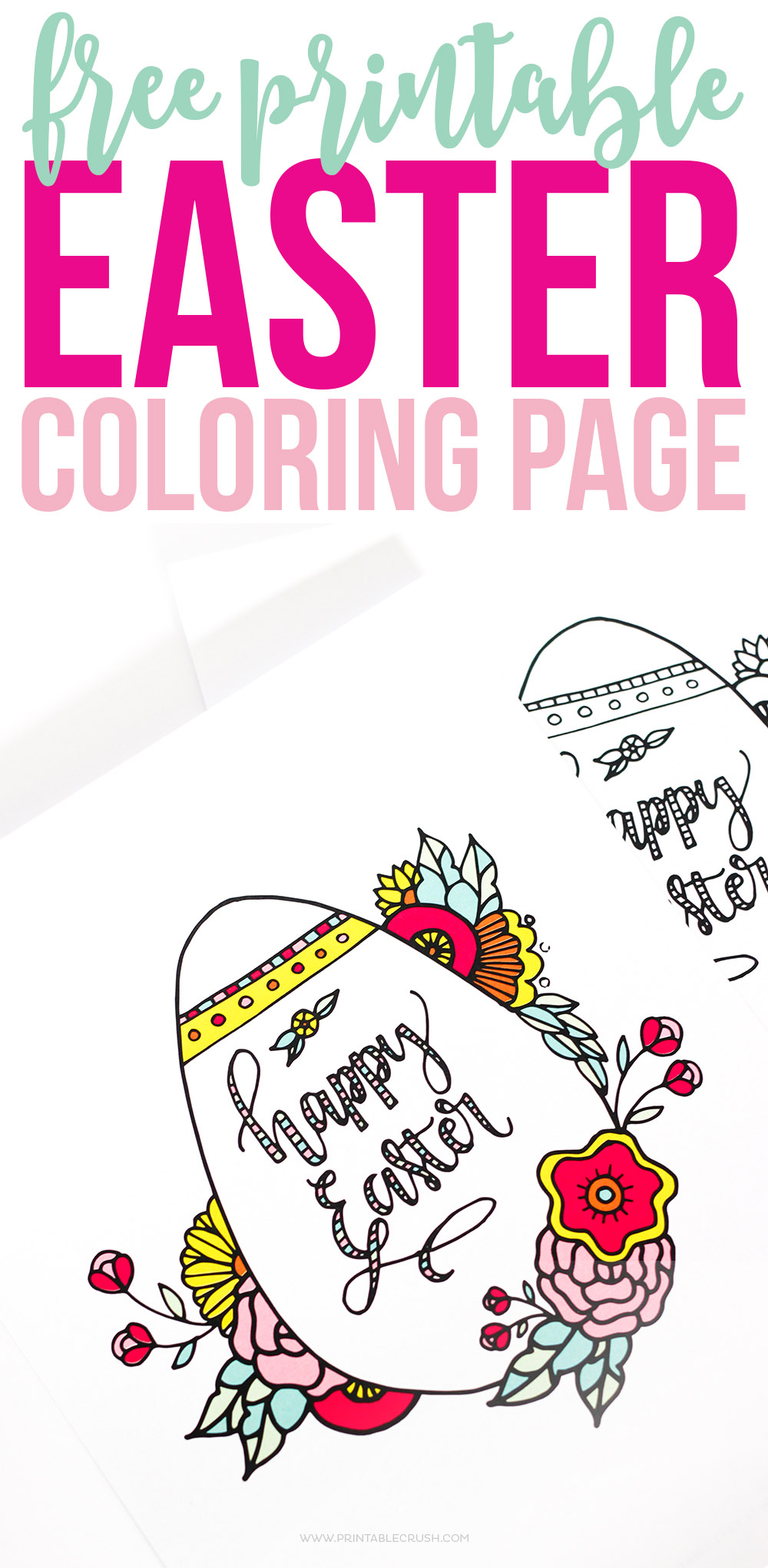 Colored and uncolored Easter coloring pages