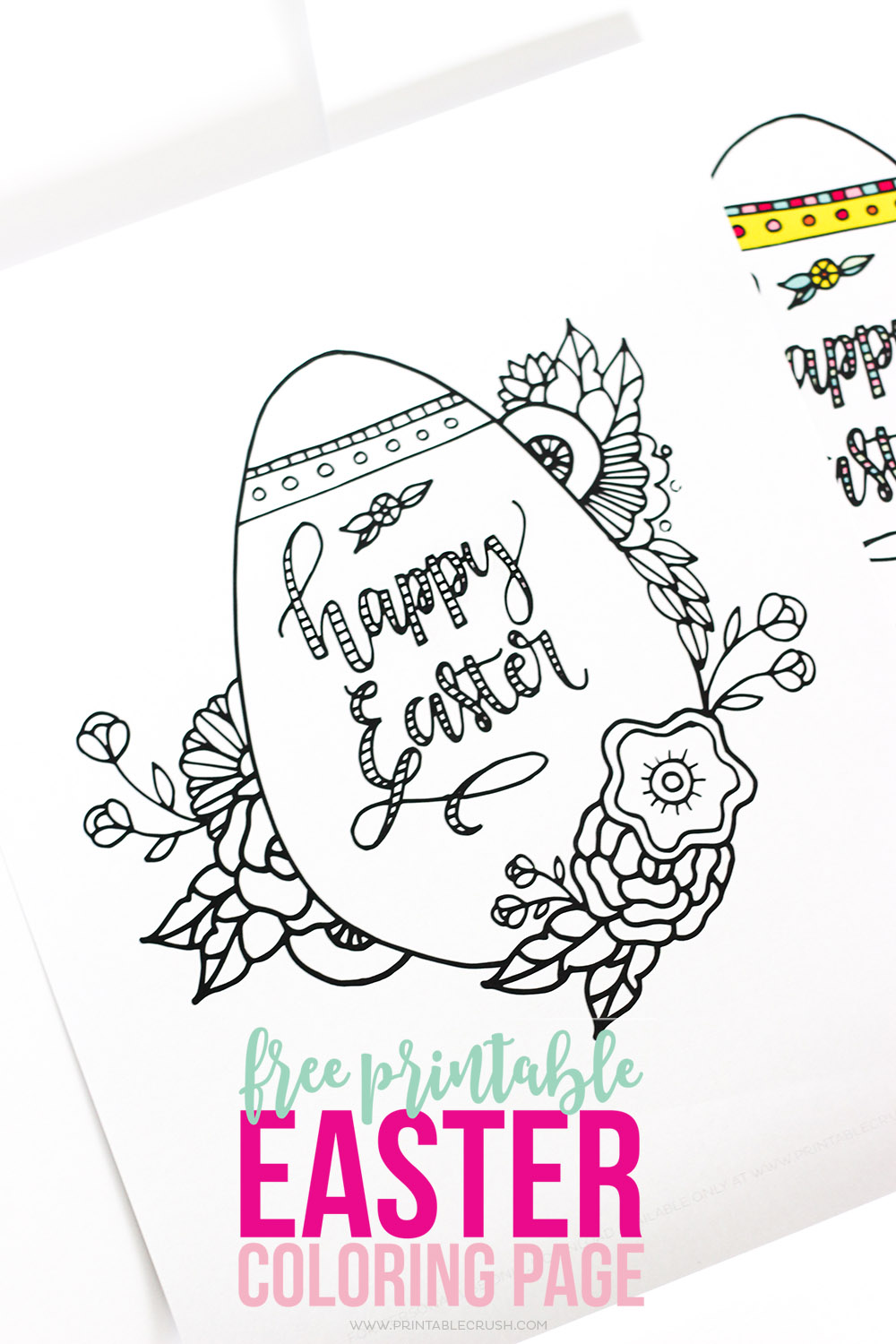 Easter coloring page against white background