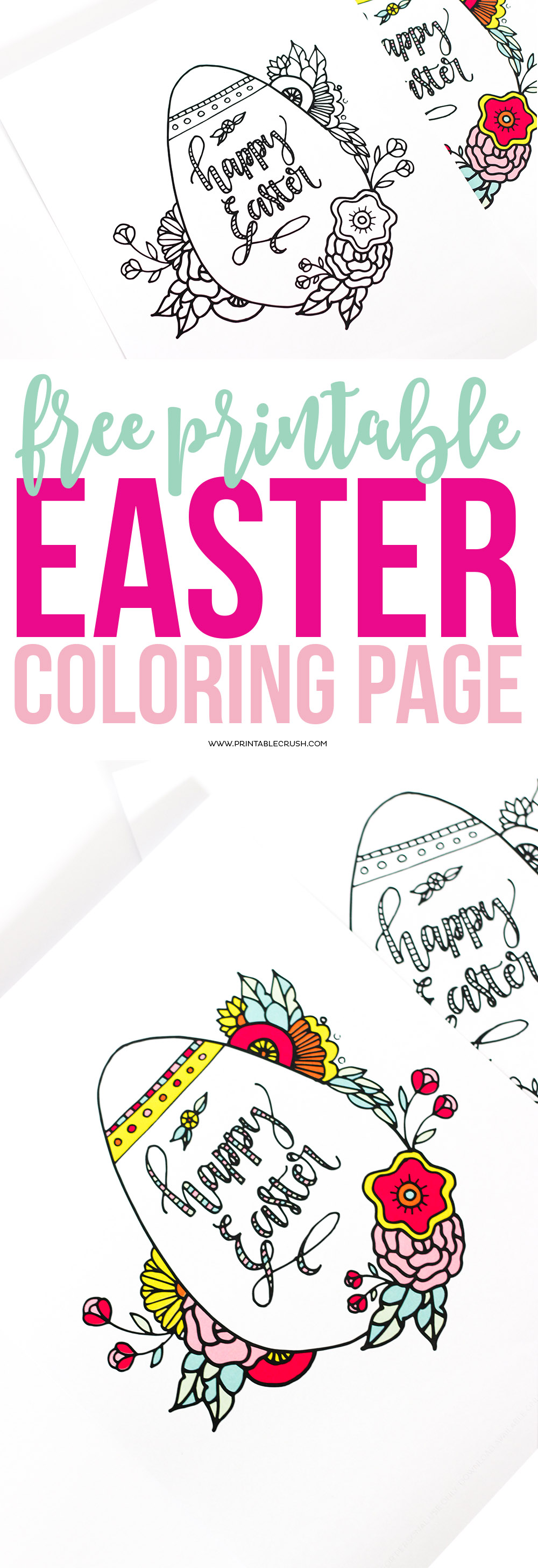 Easter coloring pages in long pin collage