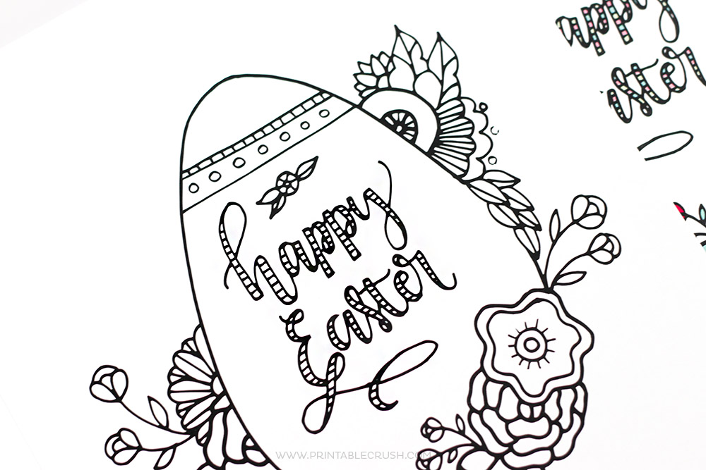 Black and white Easter coloring page