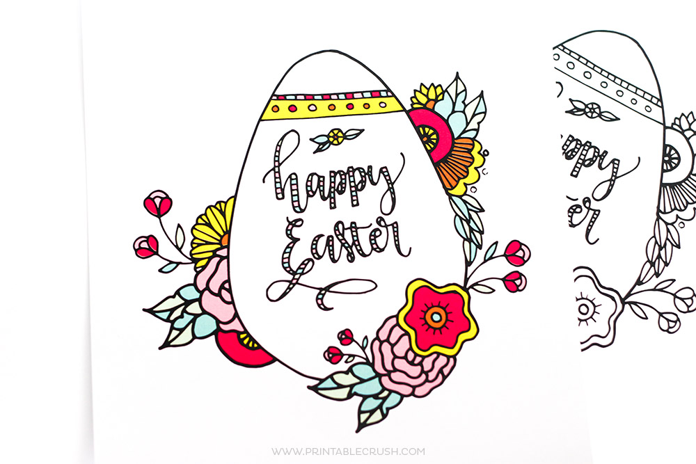 Colored and plain Easter coloring pages