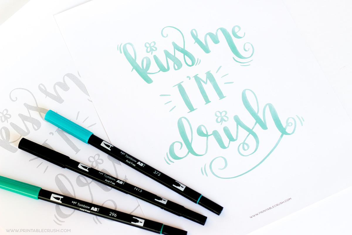 Free Printable St Patrick S Day Brush Lettering Worksheet