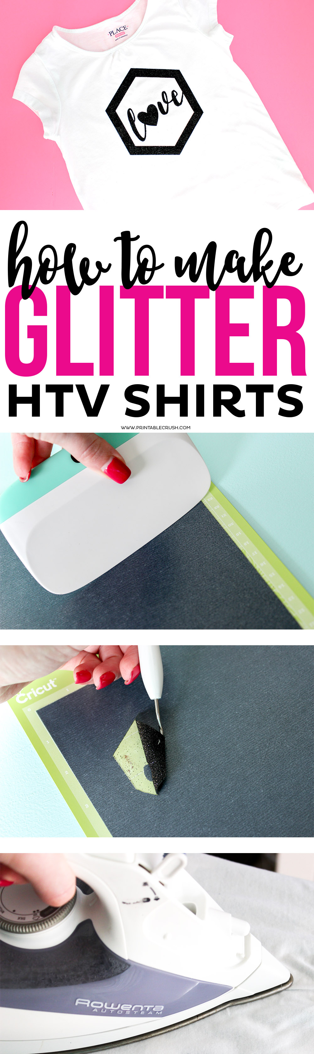 You can easily make Glitter HTV Shirts with your Cricut using this tutorial! This will show you step by step instructions to make the perfect sparkly custom t-shirt!