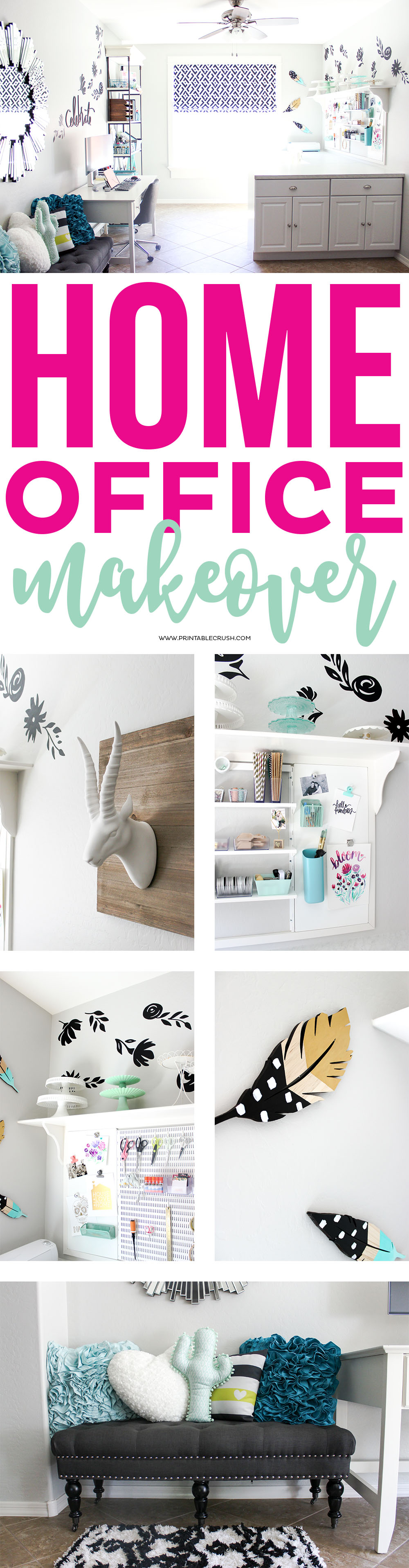 Find all the details for this GORGEOUS Craft Room and Home Office Makeover, including where to buy everything and links to all the DIY tutorials! via @printablecrush