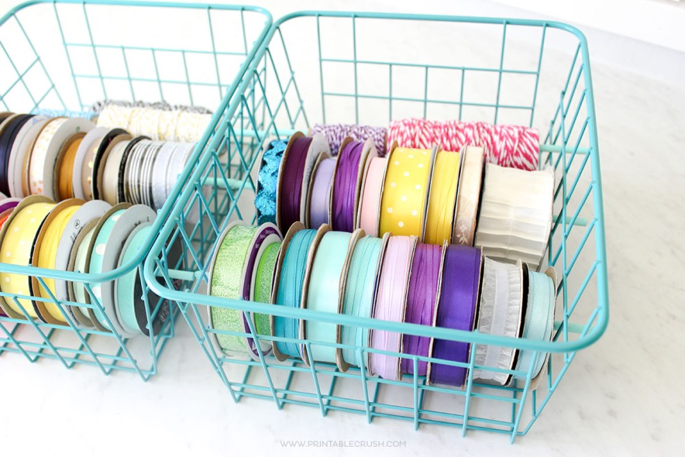 Are you a ribbon hoarder like me? You need this EASY DIY Ribbon Holder idea. It's so pretty I display it on my shelf in my home office!