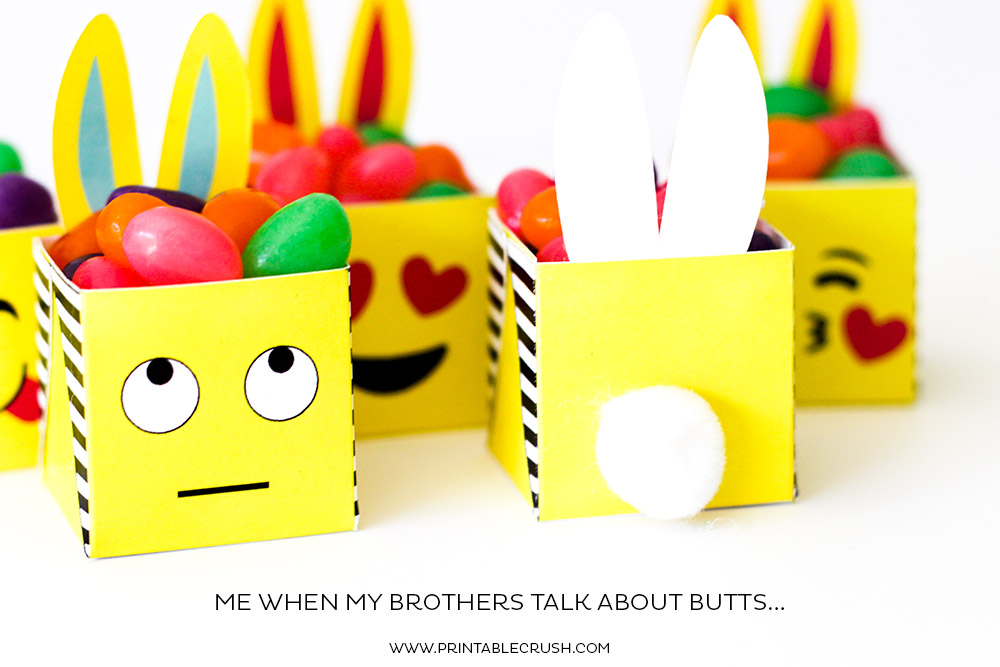 Close up of eye roll Easter emoji printable box