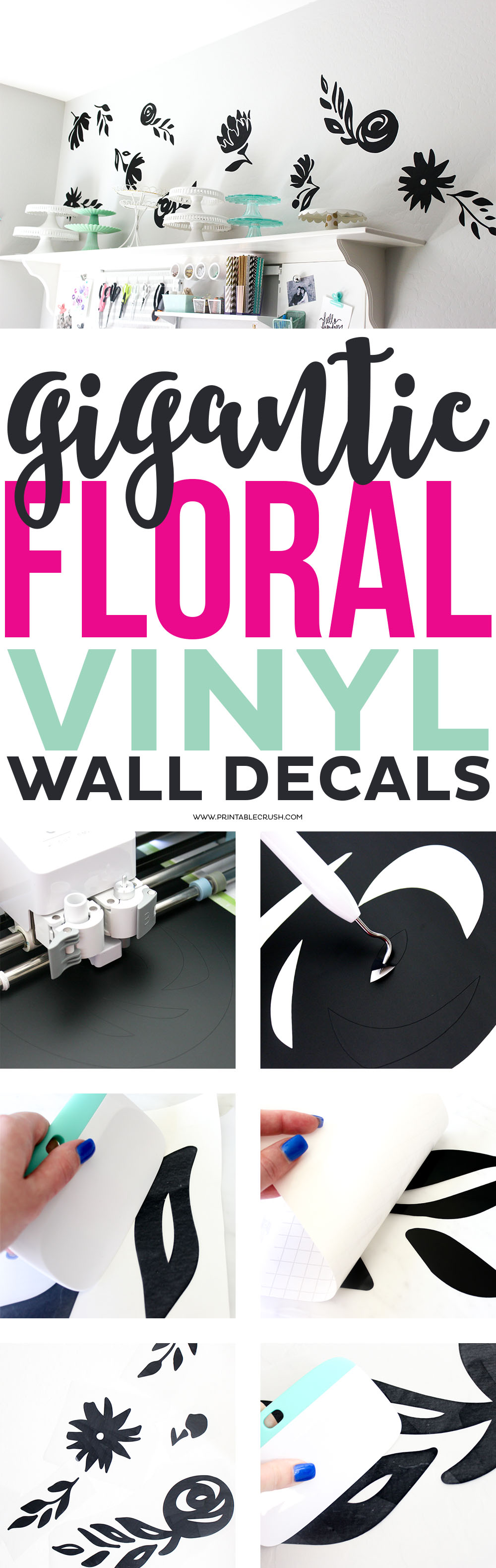 These GIGANTIC Floral Vinyl Wall Decals are great for a statement wall. Read on for the tutorial to apply them, plus get one of these flower SVG files for FREE!