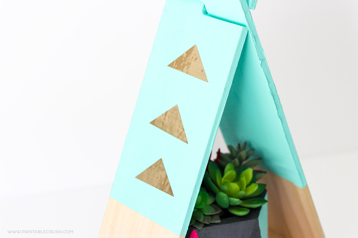 Wood teepee painted teal