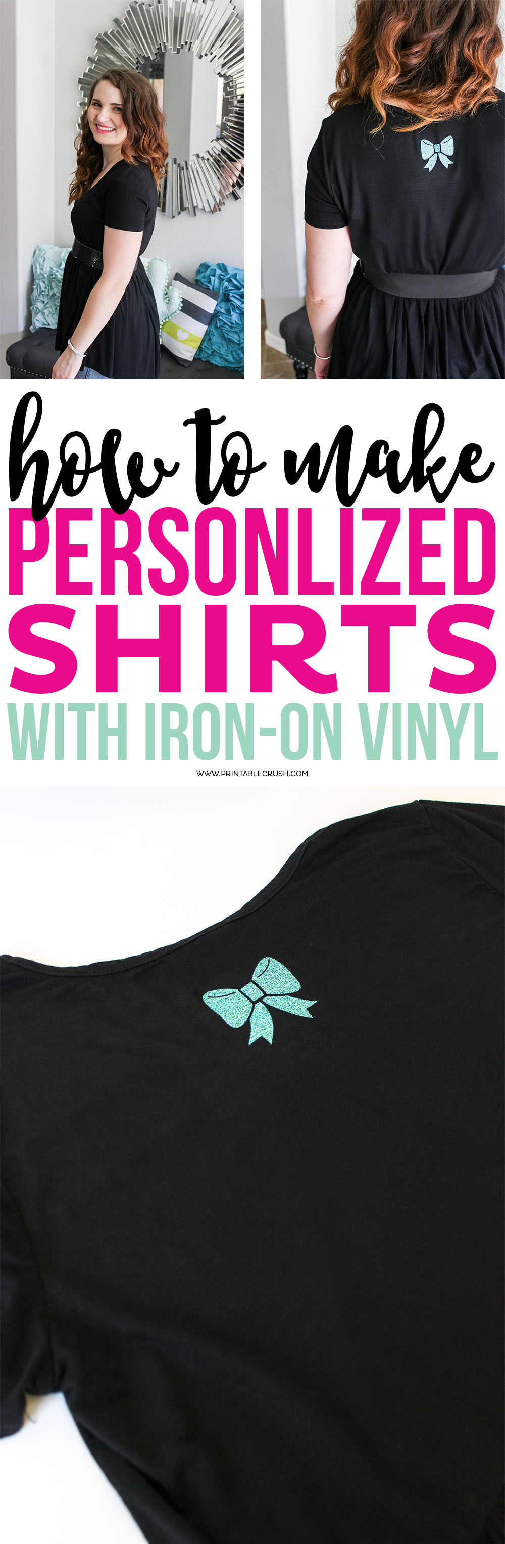 Long collage with woman wearing black shirt with iron on vinyl in teal