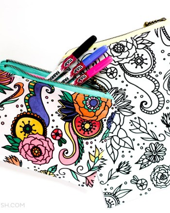 I used this GORGEOUS Coloring Book Fabric to create this Zippered Pouch tutorial for you. These are perfect for beginner sewers, like me!