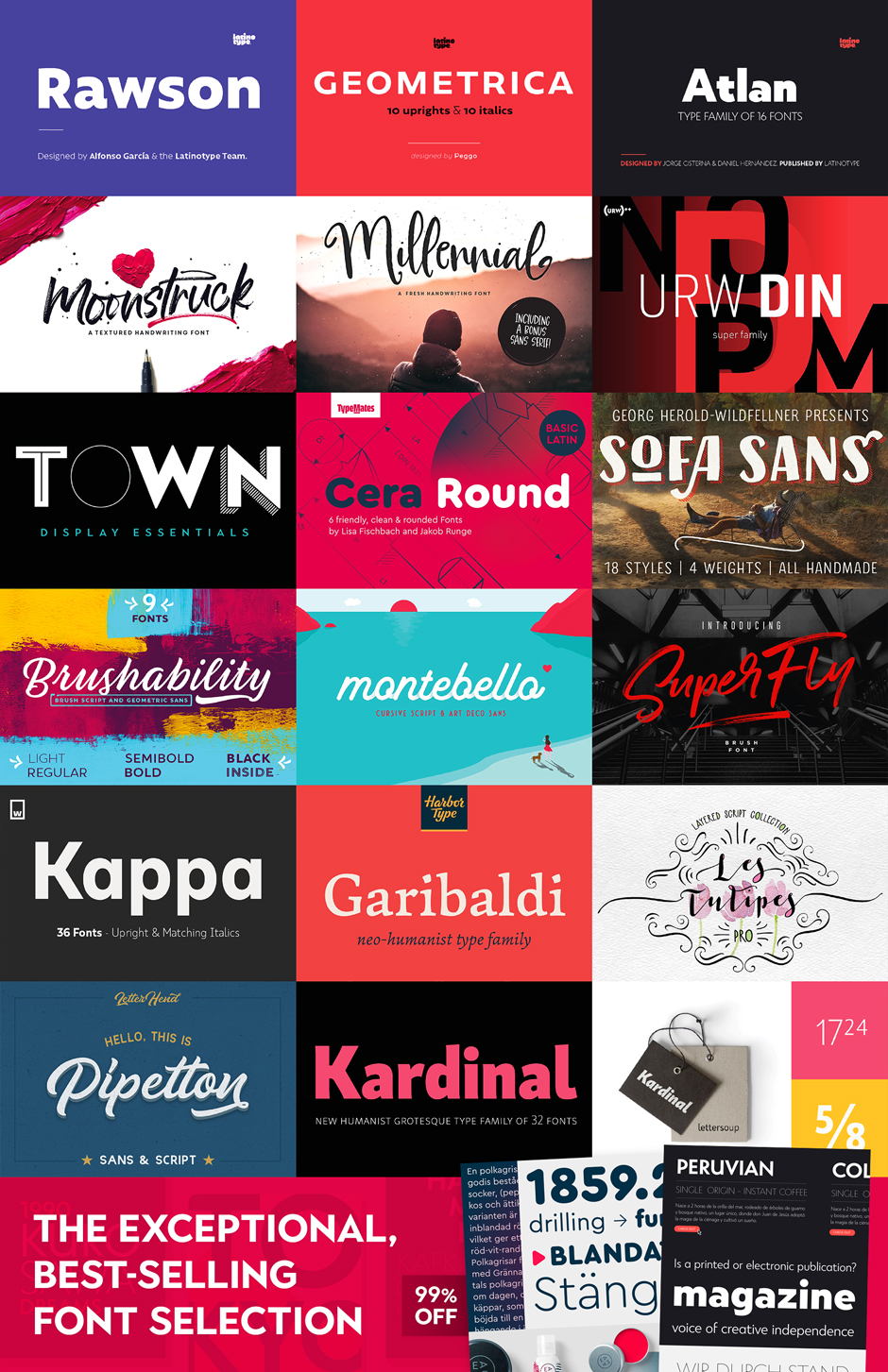 Collage of different fonts to purchase