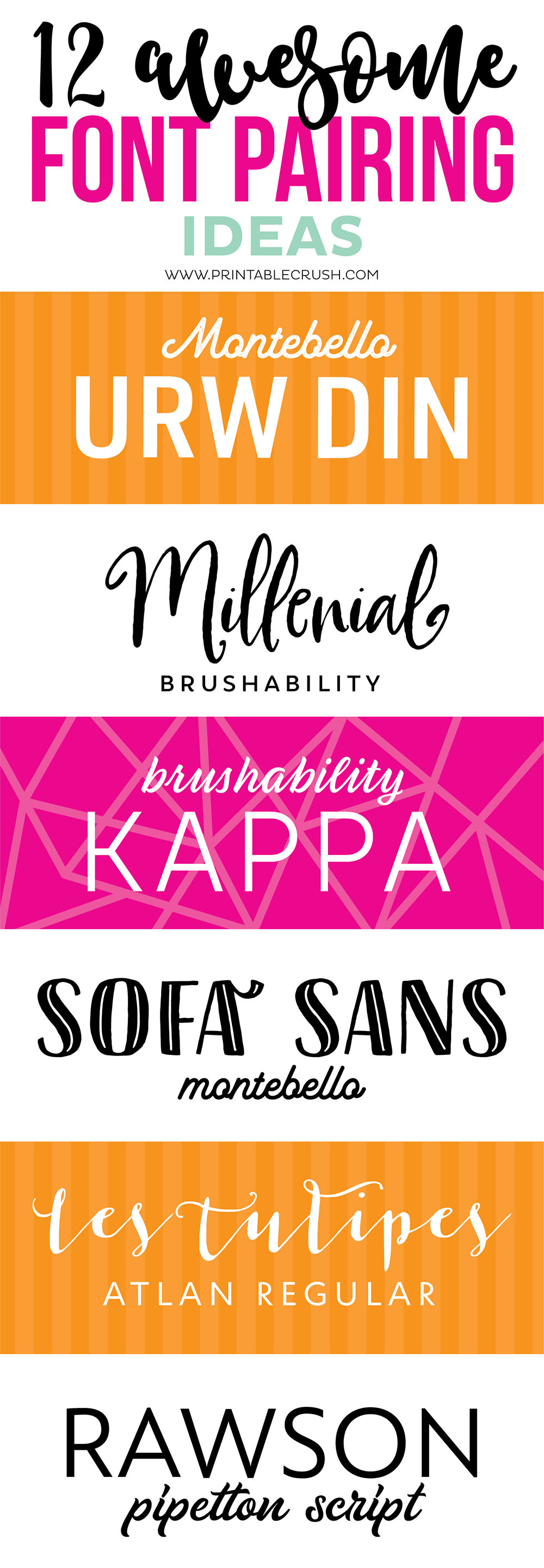 Collage of font paring examples