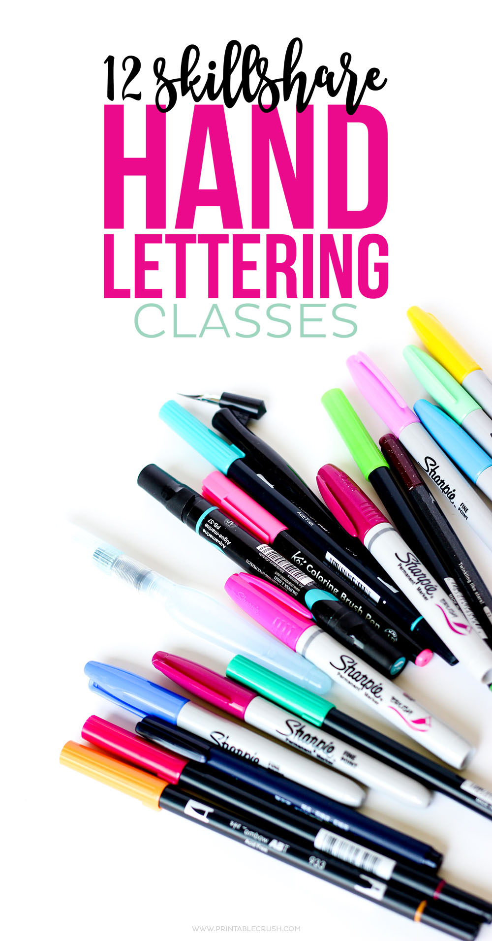 Whether you are new to lettering or need to brush up on some techniques, check out these 12 Skillshare Classes to Improve Hand Lettering Skills!