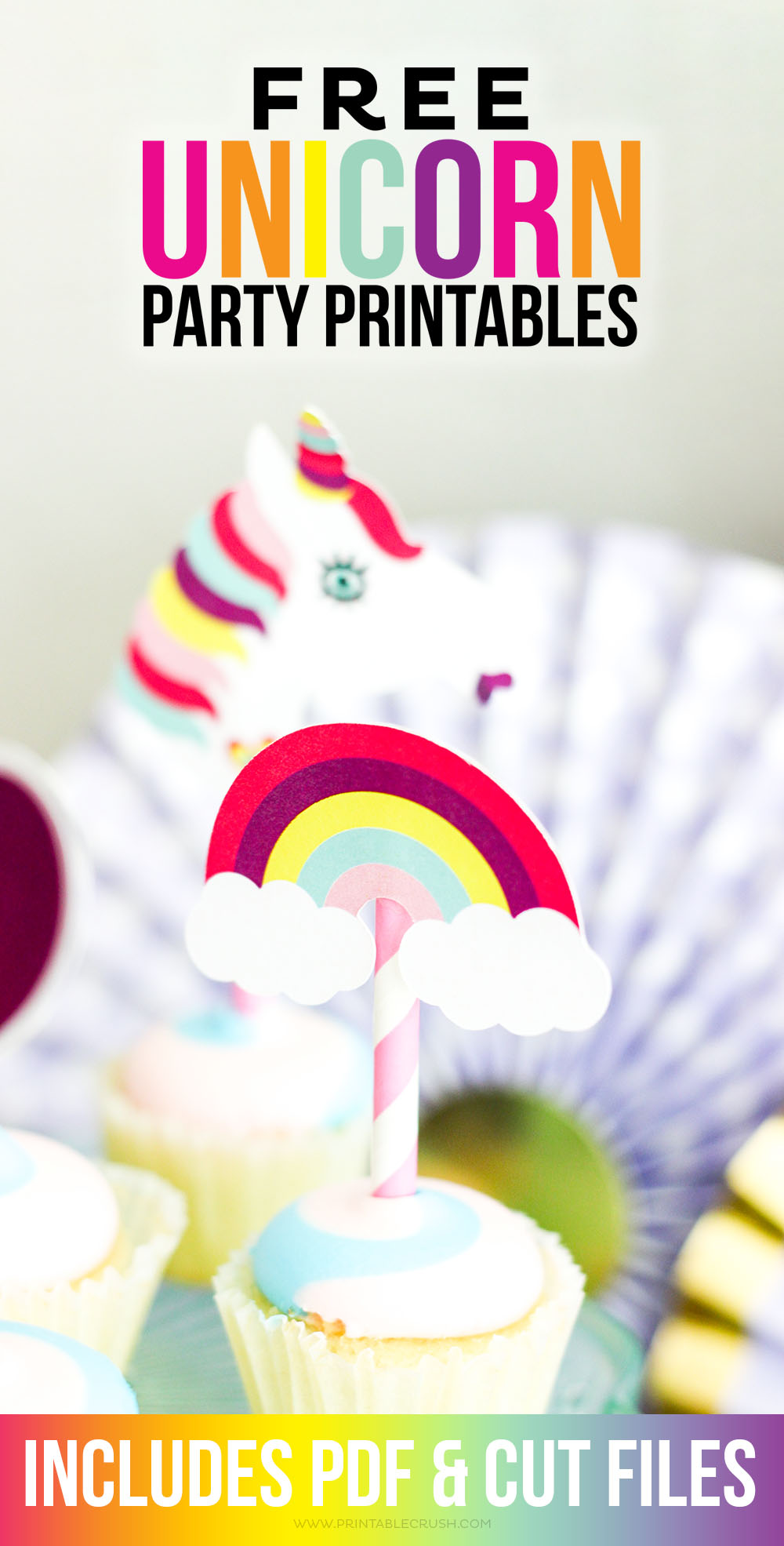 Download these FREE Unicorn Party Printables for a colorful and fun party! Includes PDF and Cricut Cut files for adorable cupcake toppers and juice box wrappers.