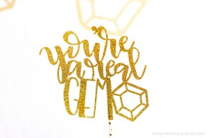 Download this FREE Cricut Cut File and create this gorgeous Glitter Hand Lettered Cake Topper! It's perfect for game night with friends.