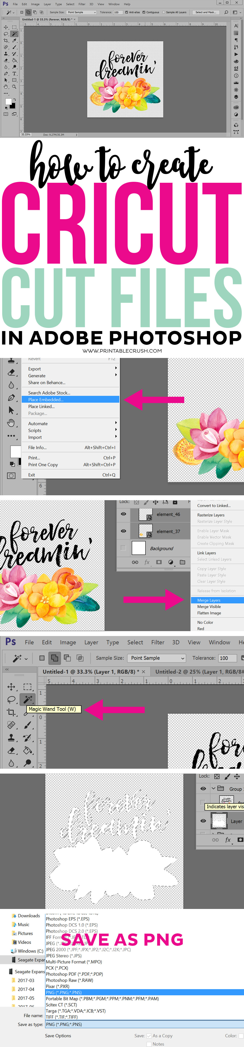 Step-by-step collage of how to use Photoshop to make Cut files
