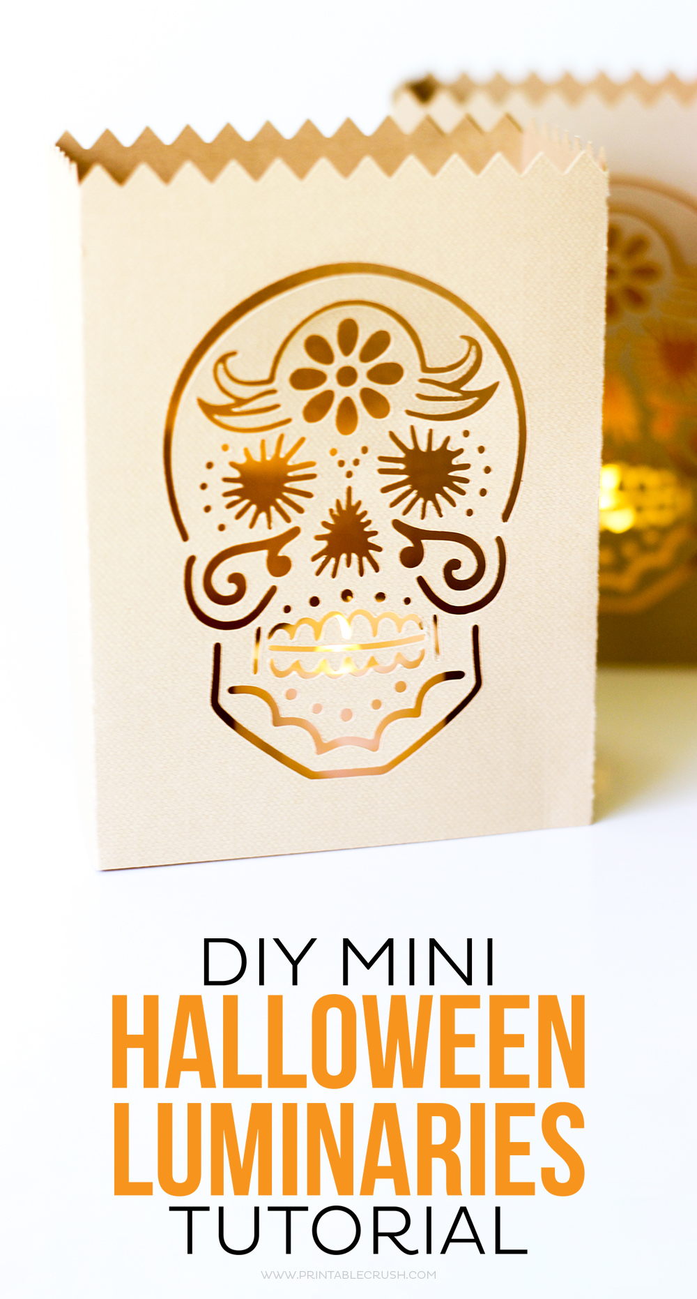 These DIY Mini Halloween Luminaries are perfect for you spooky decor. Customize the luminary file with any Halloween graphic you'd like!