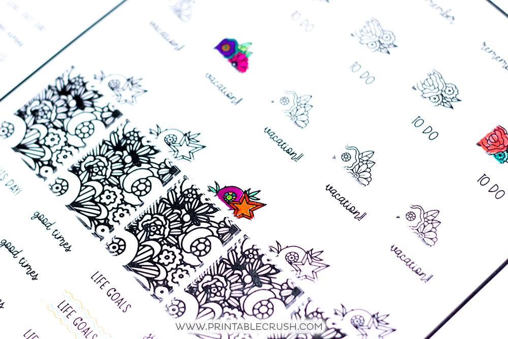 Black planner stickers with white background
