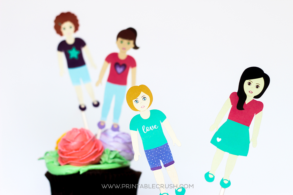 American Girl Printable cupcake toppers and paper dolls