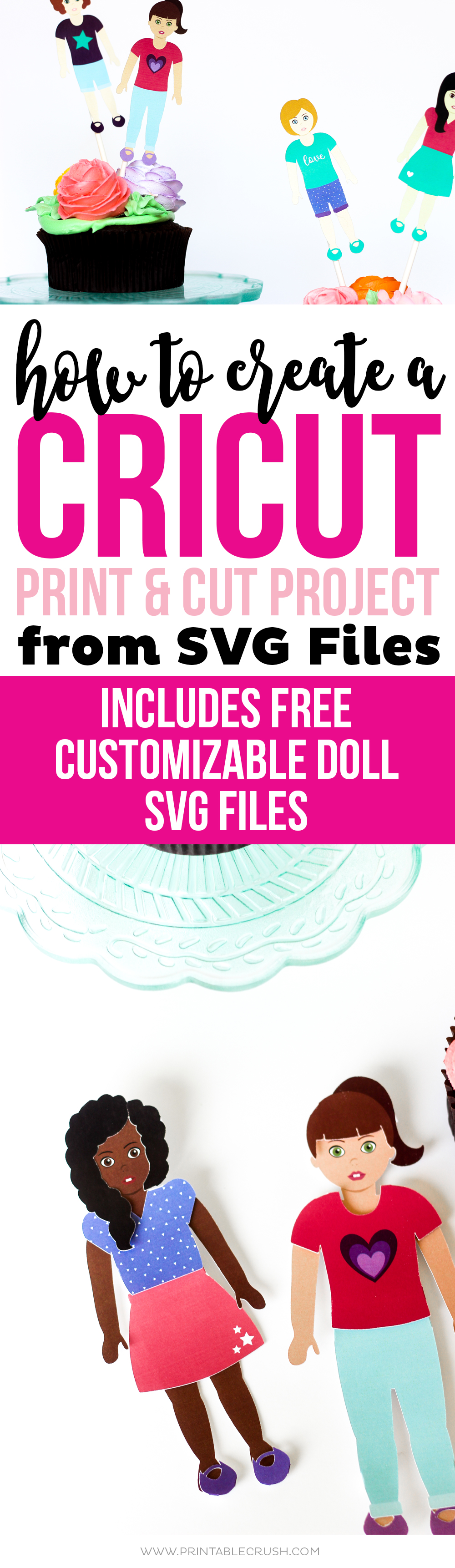 Did you know you can create a Cricut Print and Cut Project from SVG files? See how I made these cute American Girl Printable cupcake toppers and paper dolls using this method!