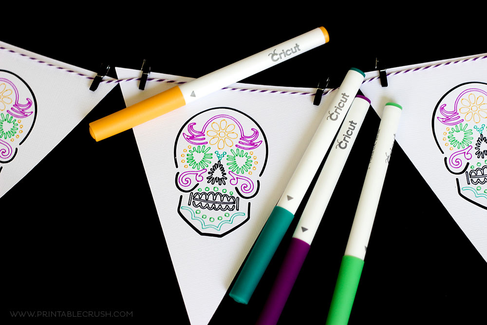 Colorful Dia De Los Muertos banner with yellos, teal, purple and green Cricut pens