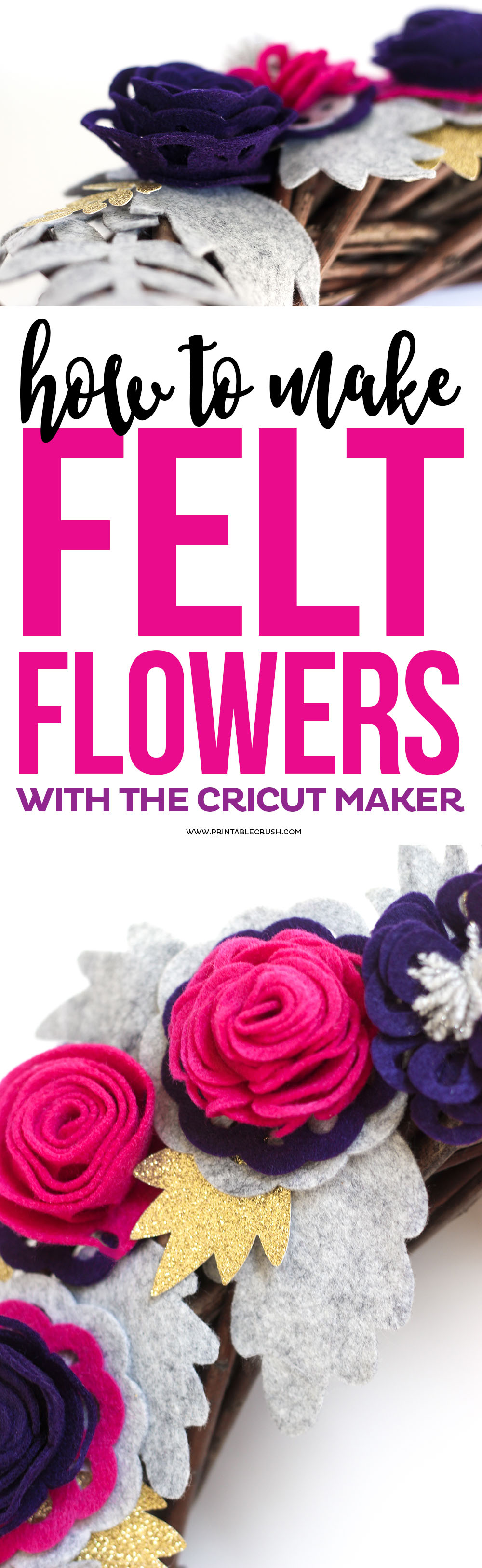 Learn how to make How to Make Felt Roses with the Cricut Maker to create a beautiful fall wreath or any other type of decor you would like!