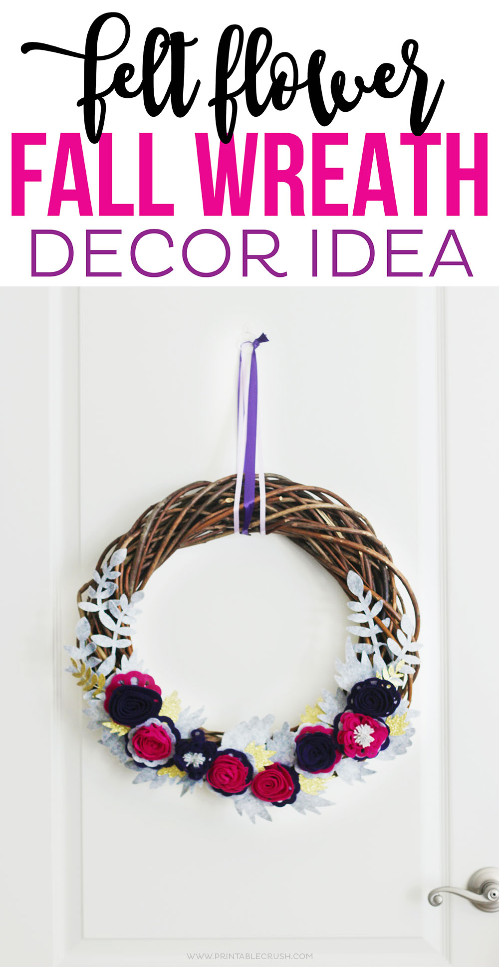 Easily make this Felt Flower Fall Wreath with the Cricut Maker!