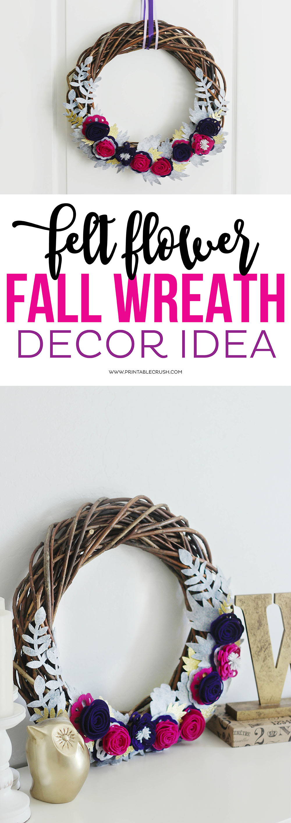 This gorgeous Fall Wreath Felt Cricut Project looks like it was a ton of work, but it's incredibly easy to make! Great for Fall mantel decor!