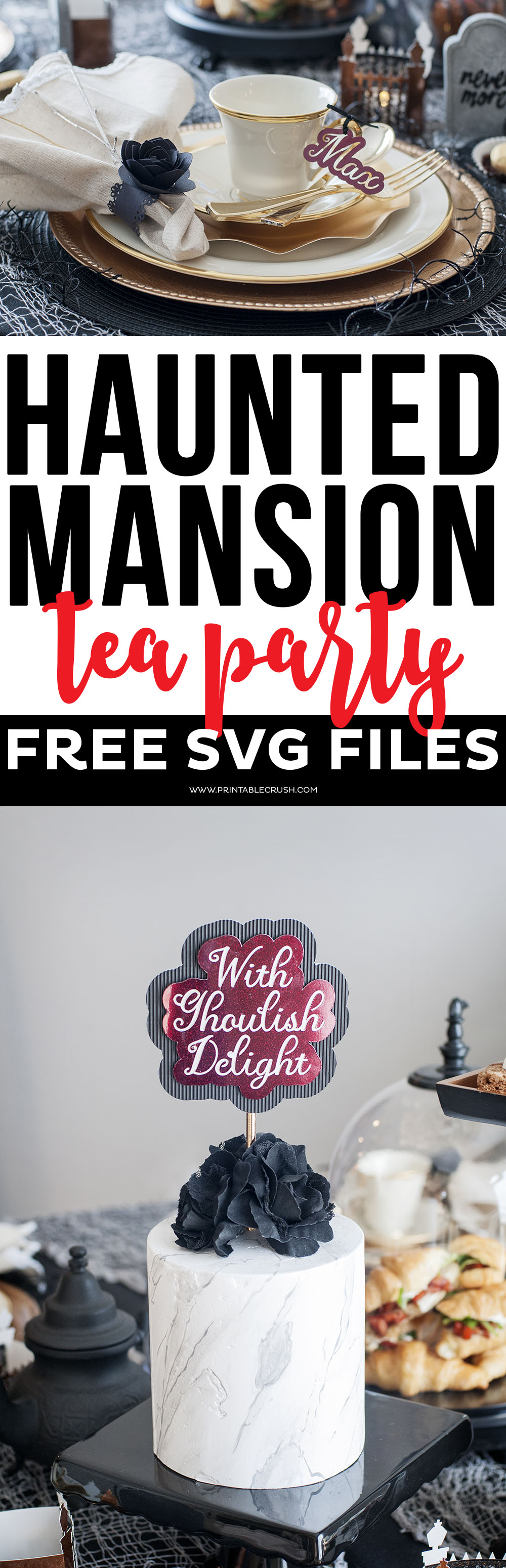 Download these FREE Haunted Mansion Tea Party SVG Files to use for your next party idea, or for your Halloween Decor! Includes 4 spooky Halloween designs! via @printablecrush