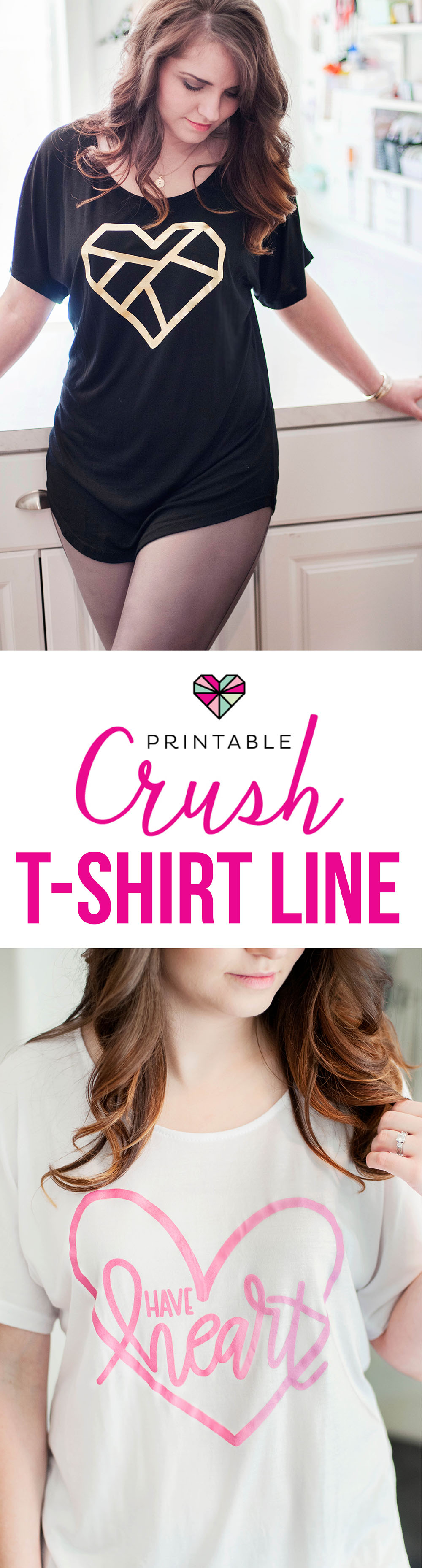 Introducing the new Printable Crush T-shirt Line with gold foil, ombre, and hand-lettered designs. These gorgeous tees are comfortable enough to wear at home with your yoga pants, and pretty enough to wear out on the town!