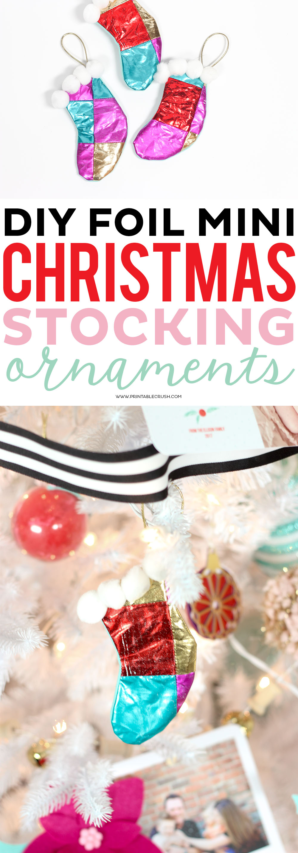 These Mini Christmas Stocking Ornaments are adorable with the shiny foil quilt design and pom pom embellishments. Great for those starting out with sewing!