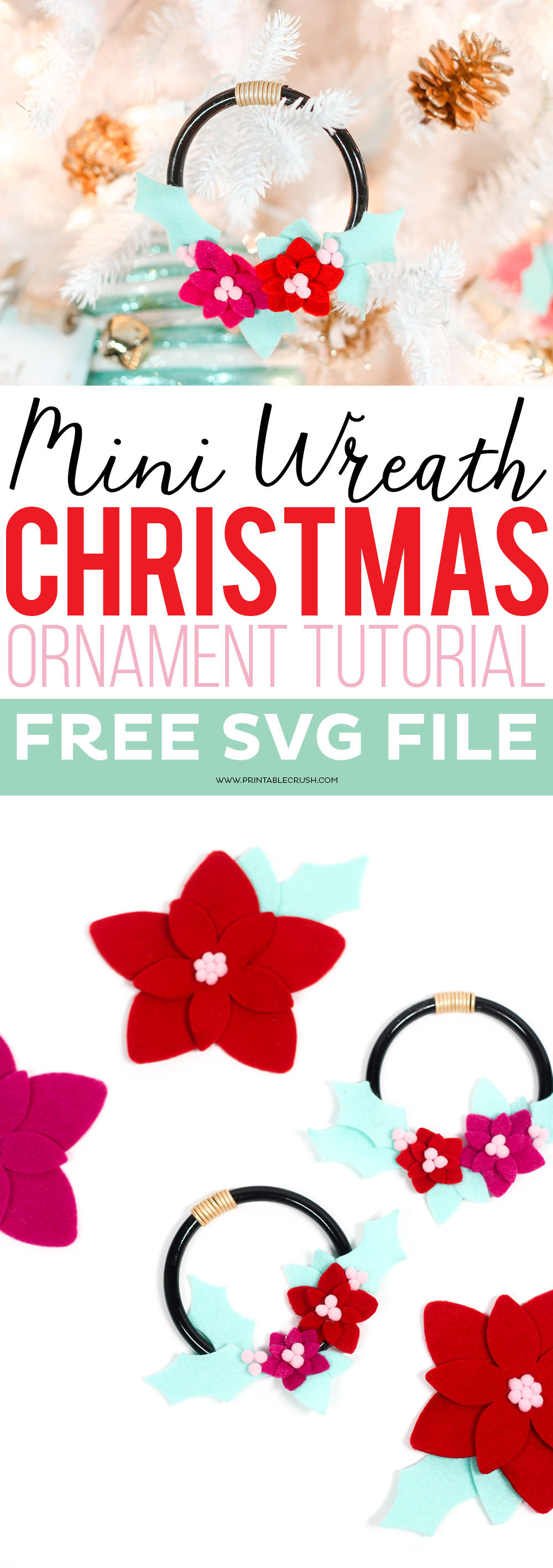 Check out this Mini Felt Wreath Ornament tutorial to make a unique and beautiful addition to your tree. I've also included 3 other PoinsettiaOrnament Ideas! via @printablecrush