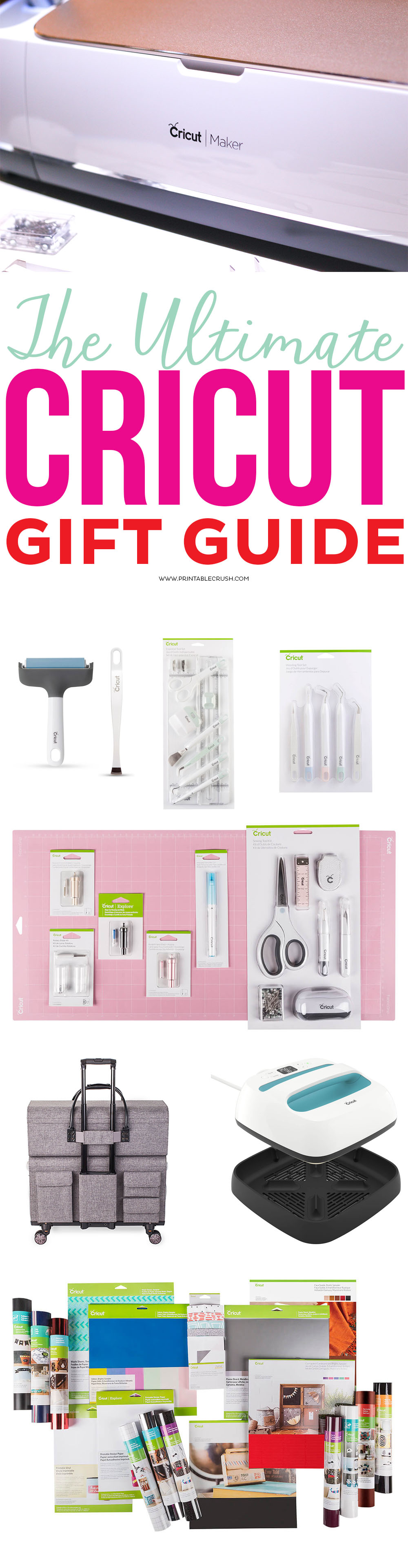 The Ultimate Cricut Gift Guide from the biggest Cricut fan! See what machine will work for you and the tools you need for the best Cricut experience! via @printablecrush