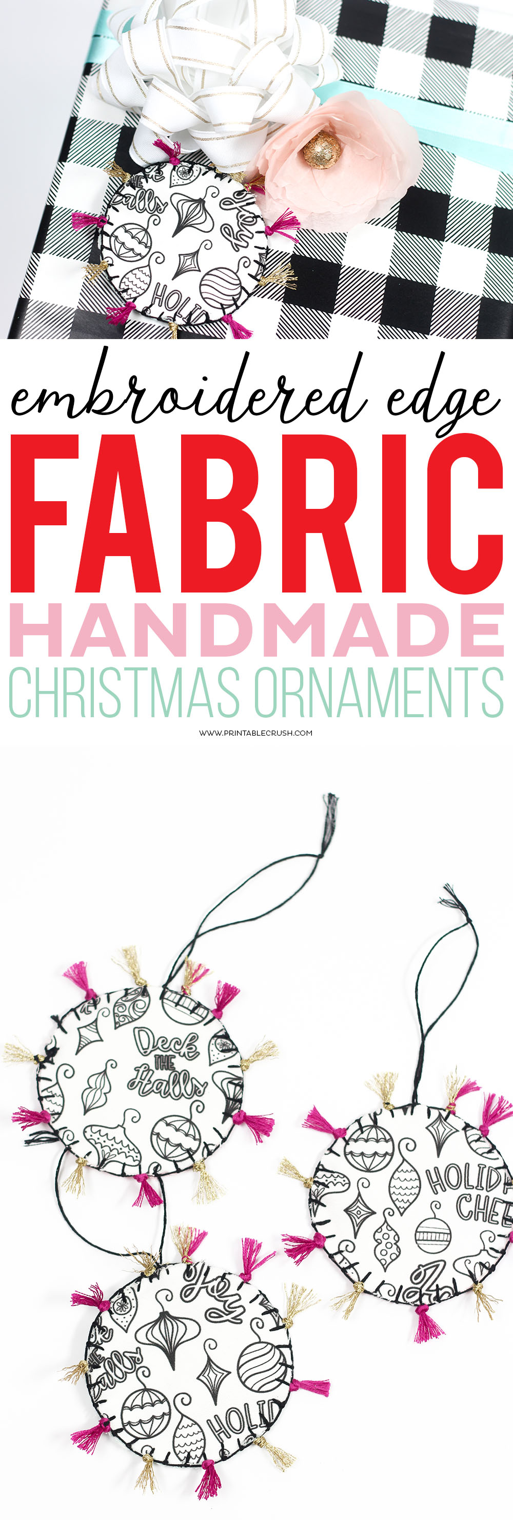 These FabricHandmade Christmas Ornaments and gift tags areadorable! Learn how to give them an embroidered edge. They're easy to make for any embroidery skill level! via @printablecrush
