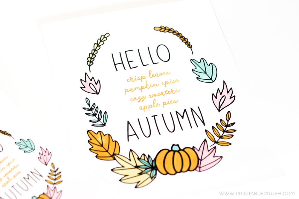 photograph relating to Autumn Printable known as No cost Hi Autumn Printable Wall Artwork - Printable Crush