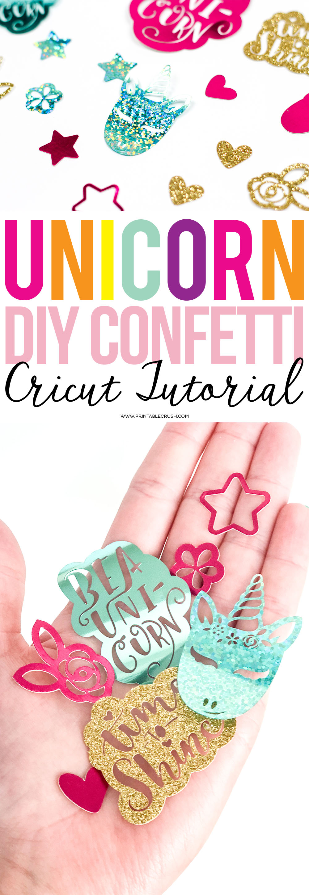 This fun Unicorn DIY Confetti Cricut Tutorial is super easy, and you will be amazed at how intricate the Maker can cut on the Cricut party foil! #DIYconfetti #partydecor #partydecorations #unicornparty #unicornsvgfiles #svgfiles #unicorncutfiles via @printablecrush