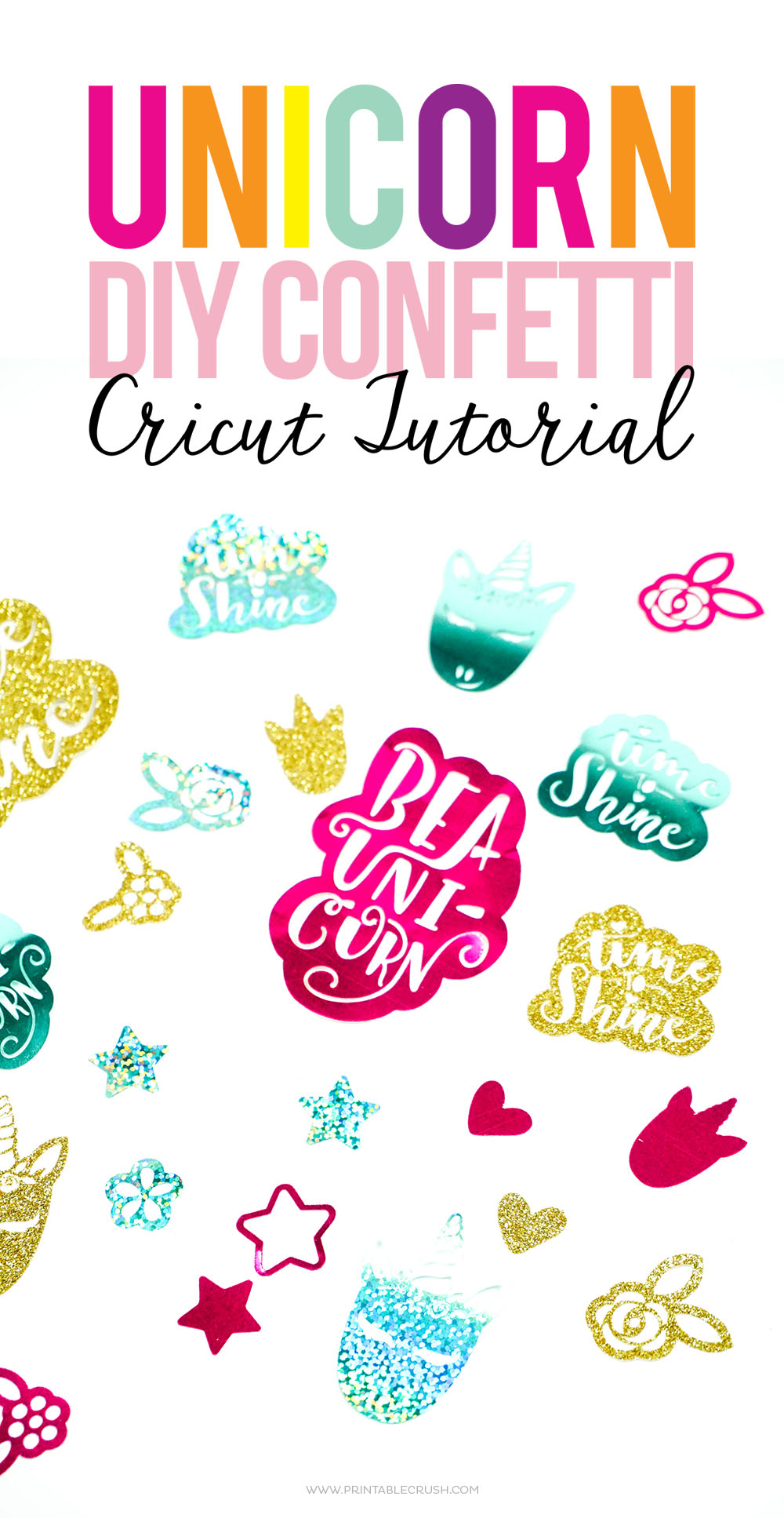 This fun Unicorn DIY Confetti Cricut Tutorial is super easy, and you will be amazed at how intricate the Maker can cut on the Cricut party foil!