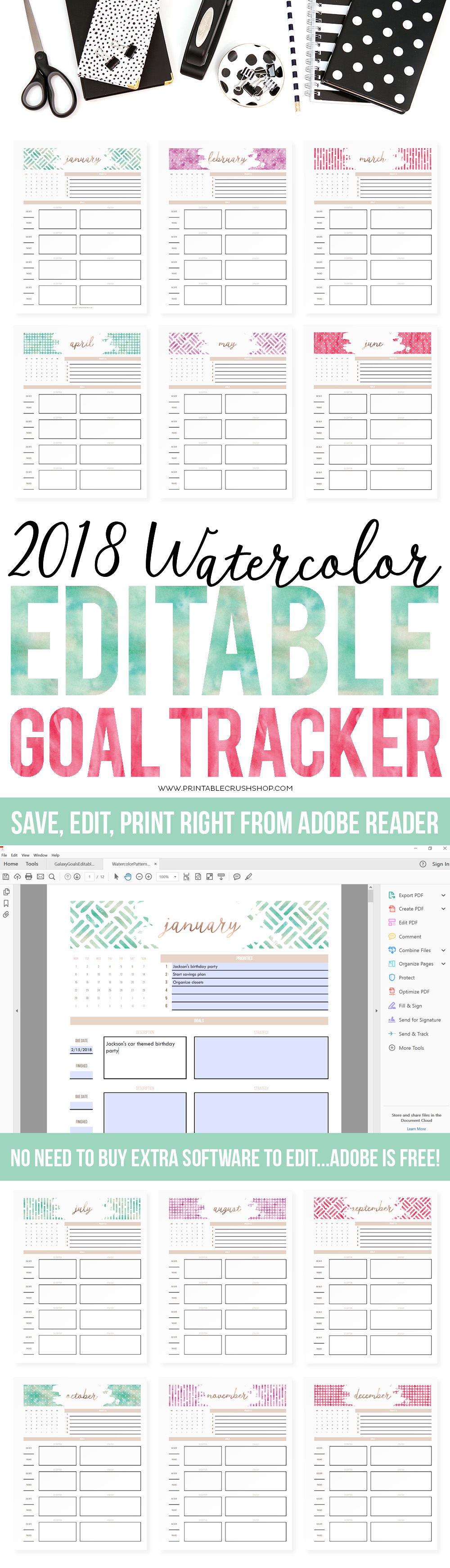 Editable Printables are so handy. I have many in my shop and now I have a tutorial on how to type on them in Adobe Reader, a program you can download for free!