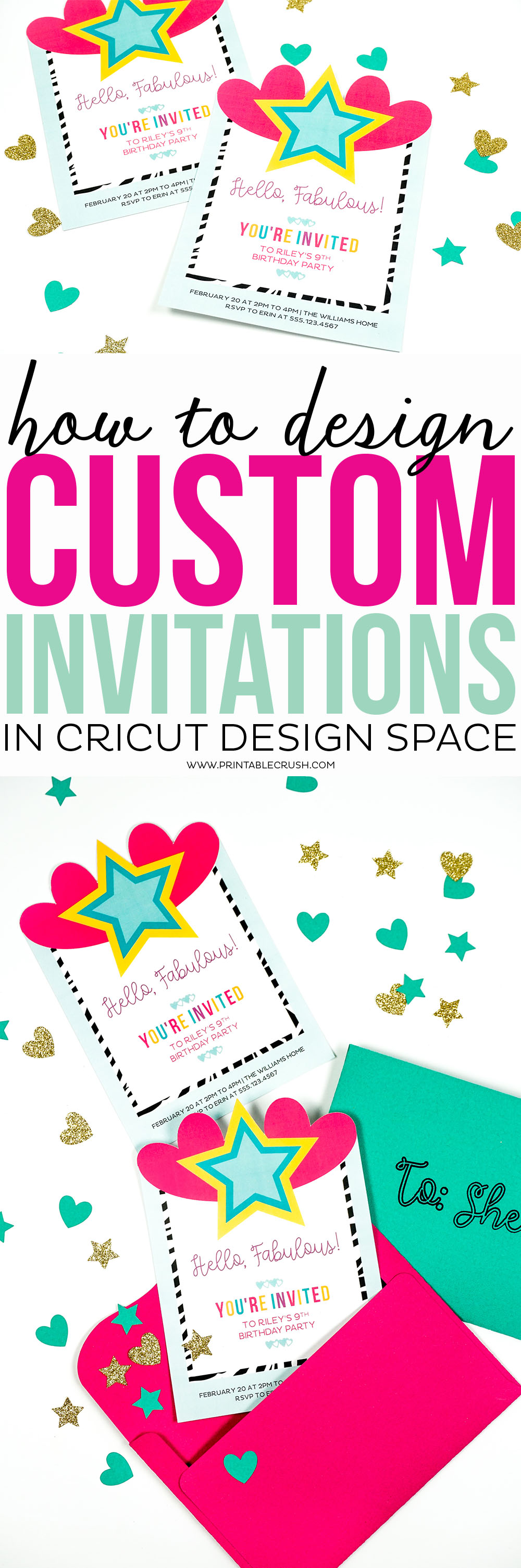 Invitation design long collage with bright invitations and envelopes