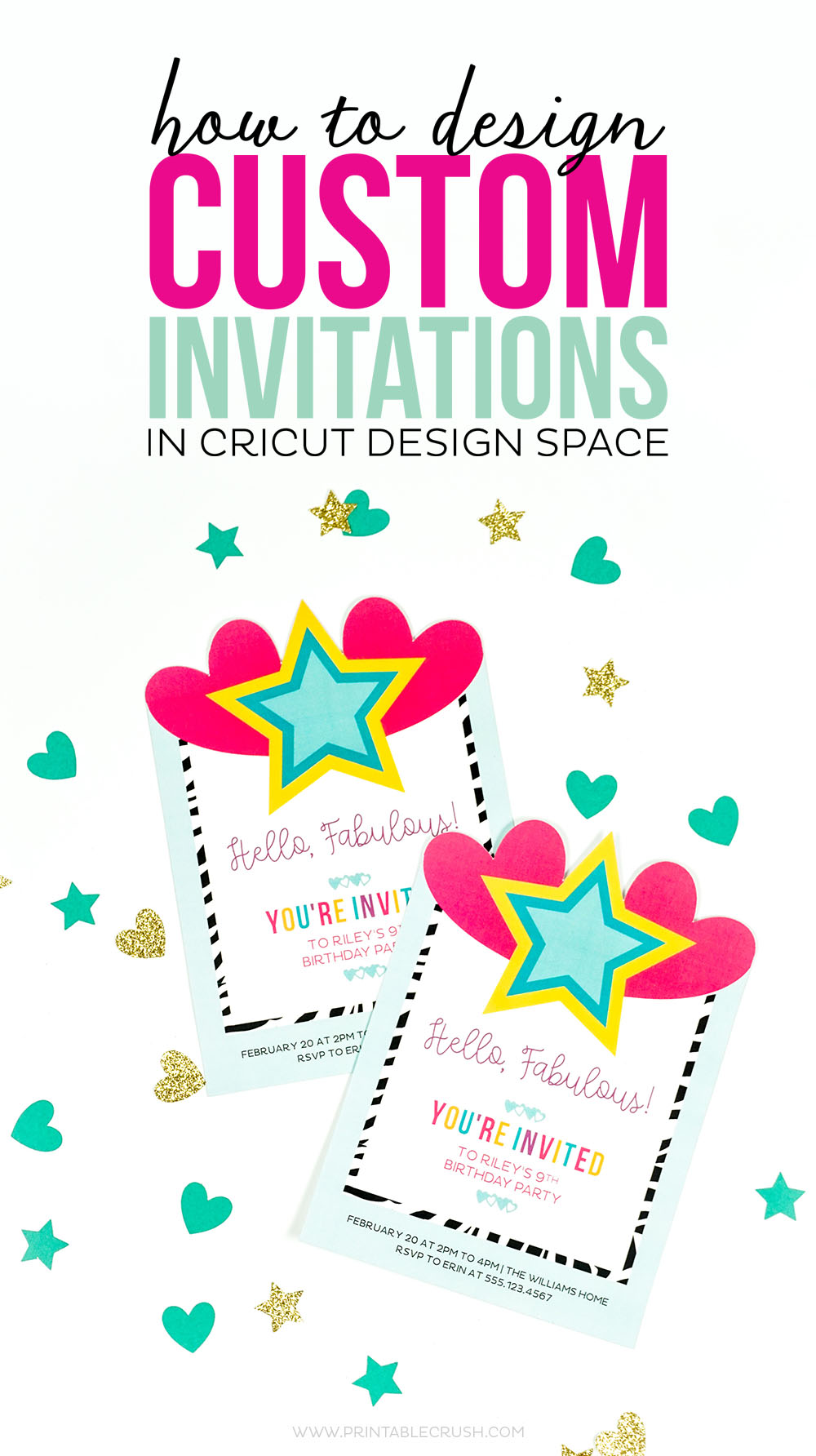 Colorful custom invitations with gold and teal confetti for invitation design post