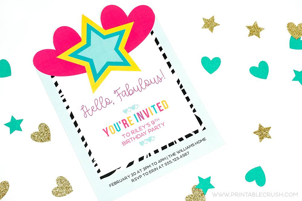 Up close shot of invitation and confetti